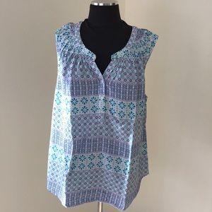 Talbots XL White Printed sleeveless blouse